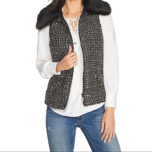 2/$50 WHITE HOUSE BLACK MARKET tweed faux fur vest